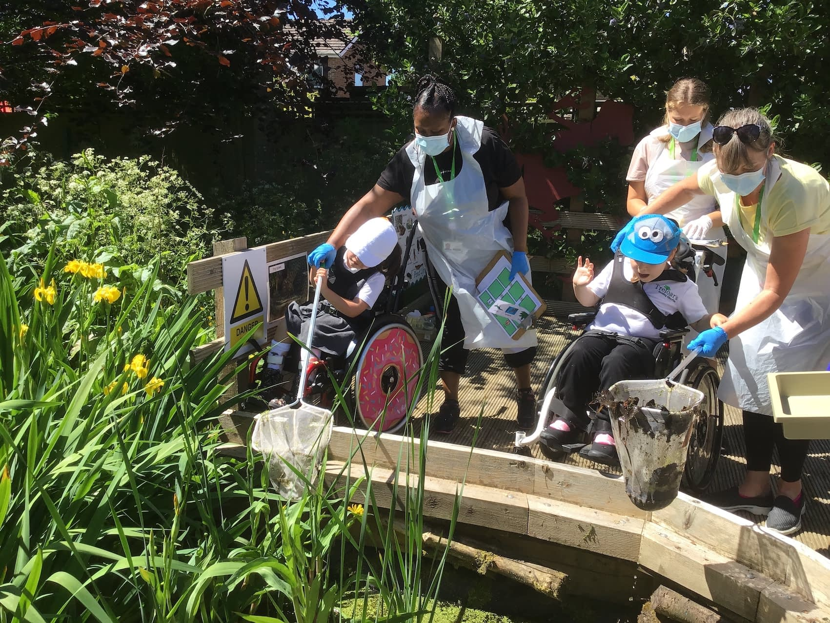 Students at Treloar School go pond dipping